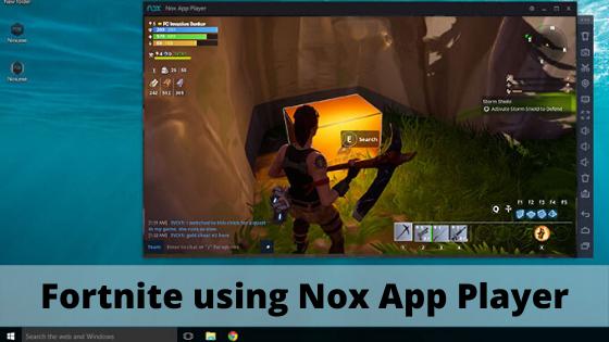 Fortnite using Nox App Player